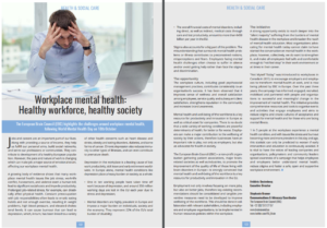 Workplace mental health healthy workforce, healthy society